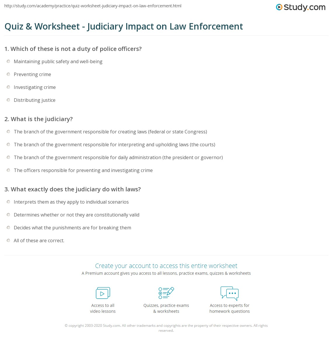 Quiz & Worksheet - Judiciary Impact on Law Enforcement | Study com