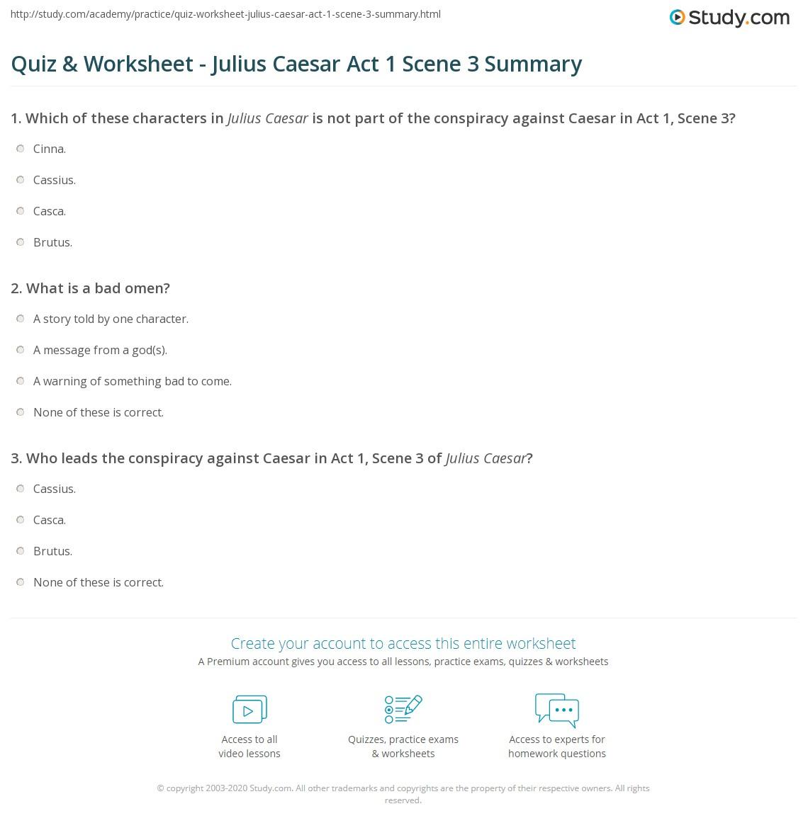 Quiz & Worksheet - Julius Caesar Act 1 Scene 3 Summary ...