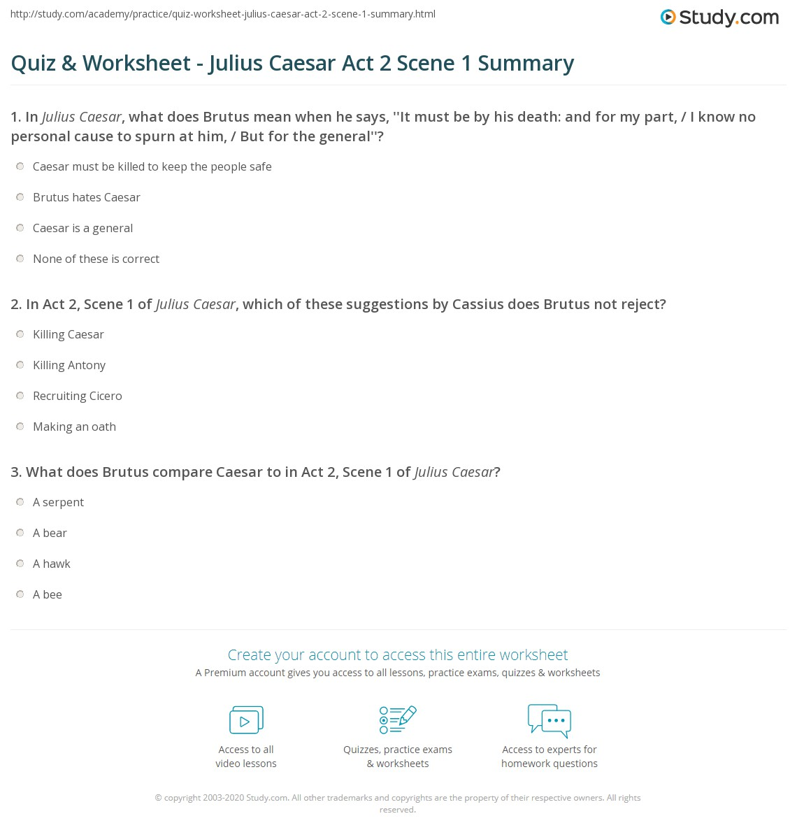 Quiz Worksheet Julius Caesar Act 2 Scene 1 Summary