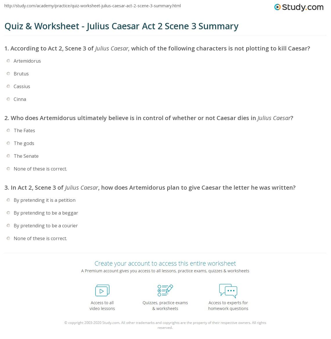 Quiz & Worksheet - Julius Caesar Act 2 Scene 3 Summary ...