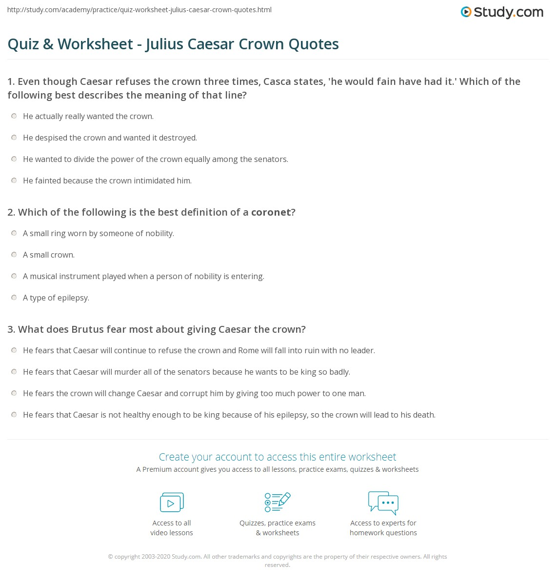 Quotes Definition Quiz & Worksheet  Julius Caesar Crown Quotes  Study