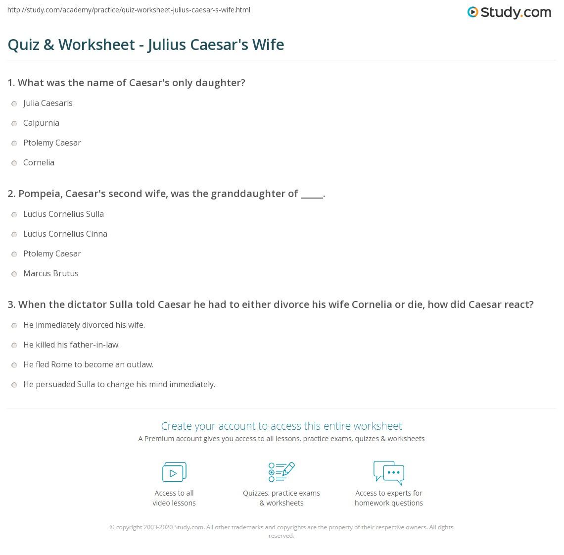 Worksheets Julius Caesar Worksheets quiz worksheet julius caesars wife study com print who was worksheet