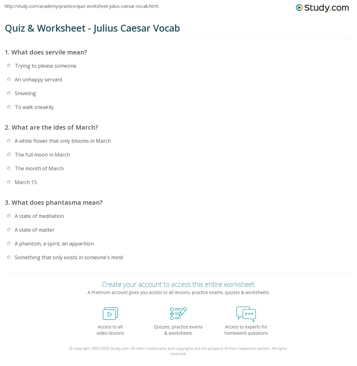 Quiz & Worksheet - Julius Caesar Vocab | Study.com