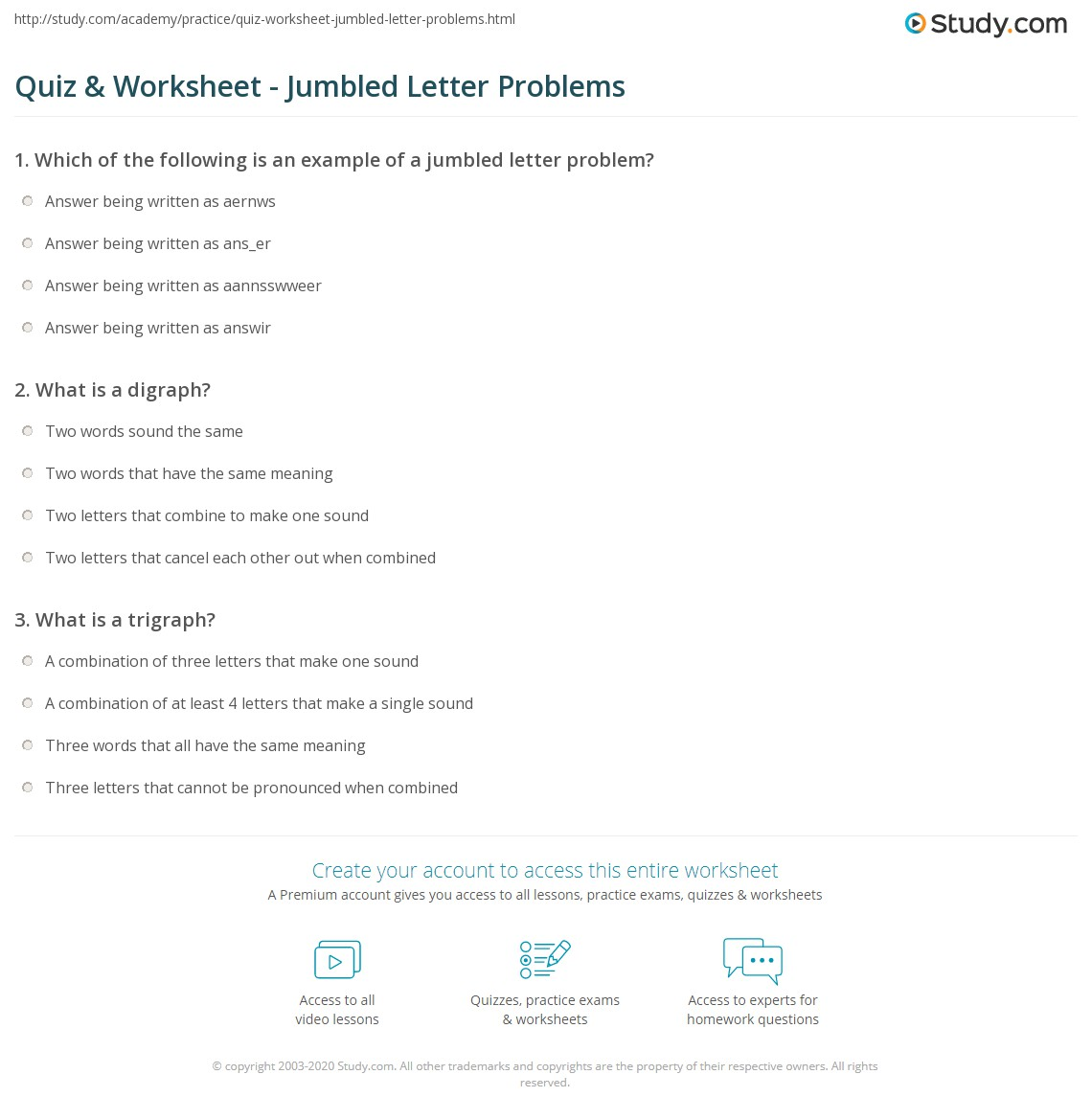 Quiz & Worksheet - Jumbled Letter Problems | Study.com