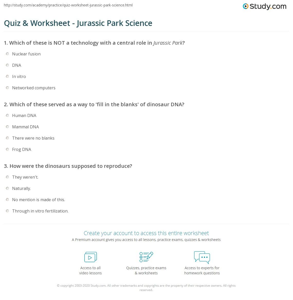 quiz worksheet jurassic park science. Black Bedroom Furniture Sets. Home Design Ideas