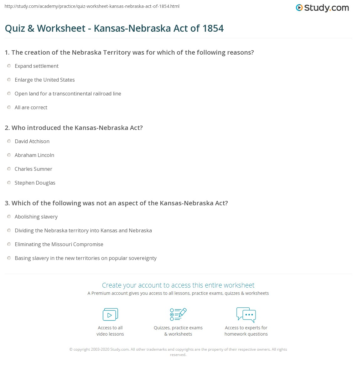 worksheet The Kansas Nebraska Act Of 1854 Worksheet Answers quiz worksheet kansas nebraska act of 1854 study com print summary definition significance worksheet