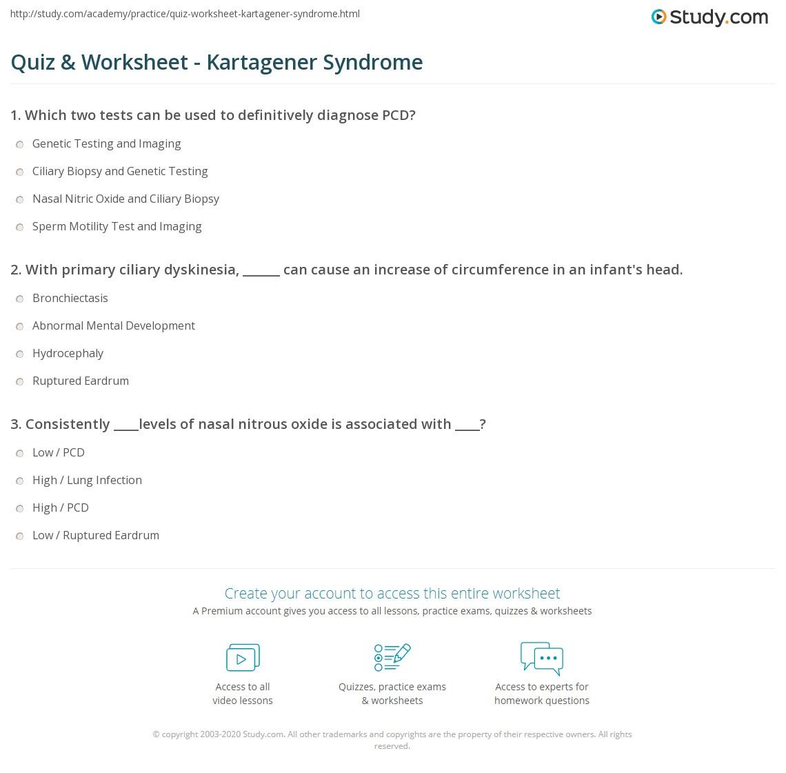 Quiz Worksheet Kartagener Syndrome Study Com
