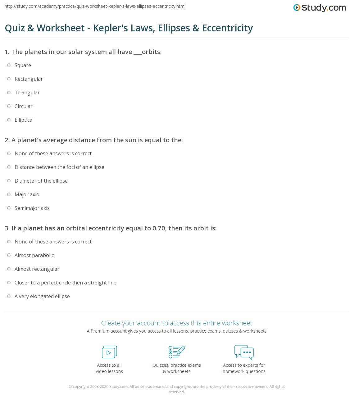 worksheet Ellipse Worksheet quiz worksheet keplers laws ellipses eccentricity study com print and worksheet