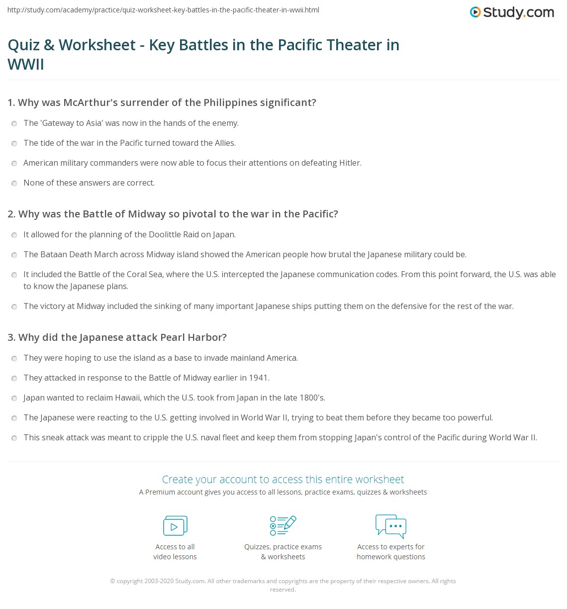 Quiz & Worksheet - Key Battles in the Pacific Theater in