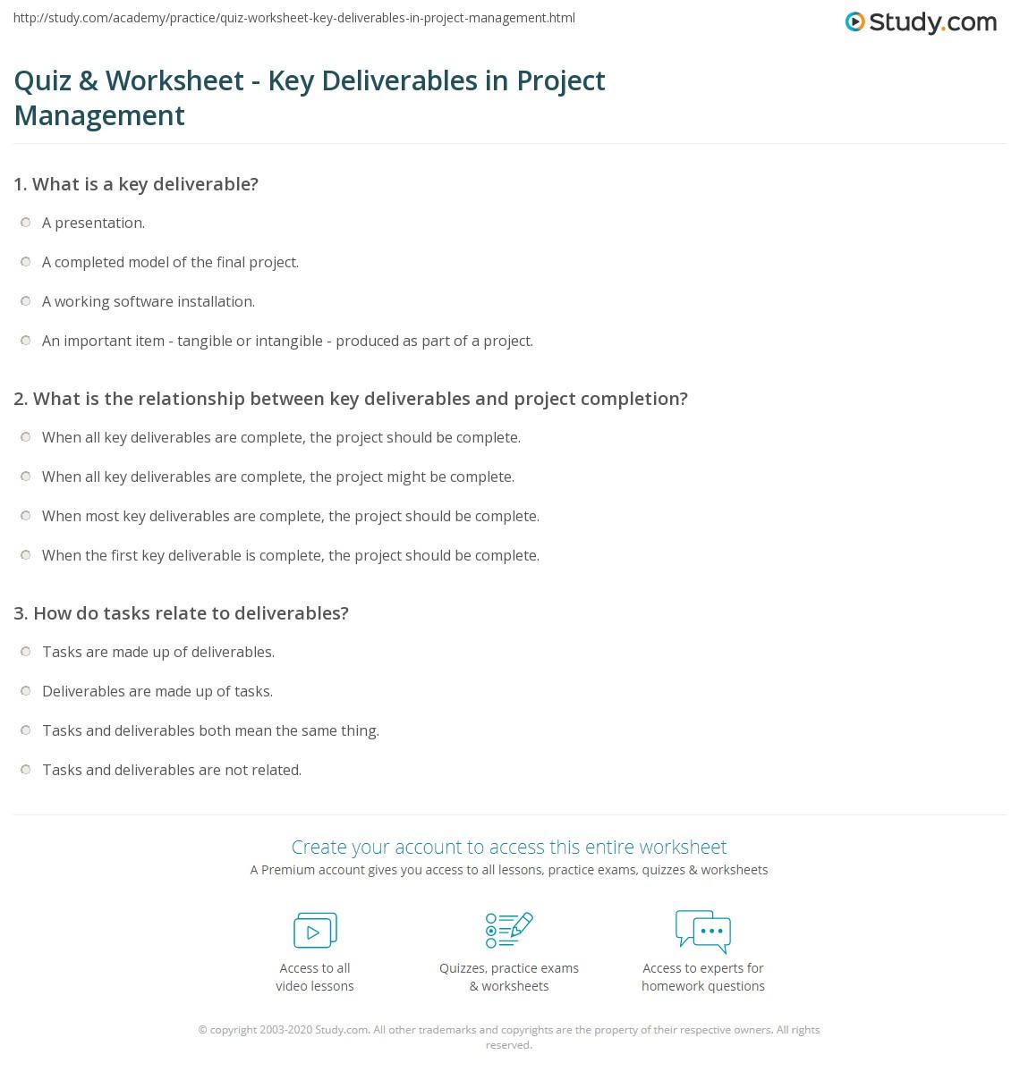 Quiz Worksheet Key Deliverables in Project Management – Project Management Worksheet