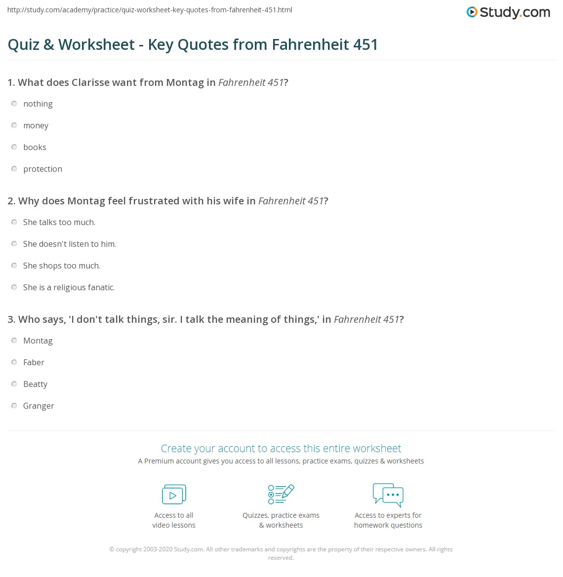 Fahrenheit 451 Quotes Quiz & Worksheet  Key Quotes From Fahrenheit 451  Study