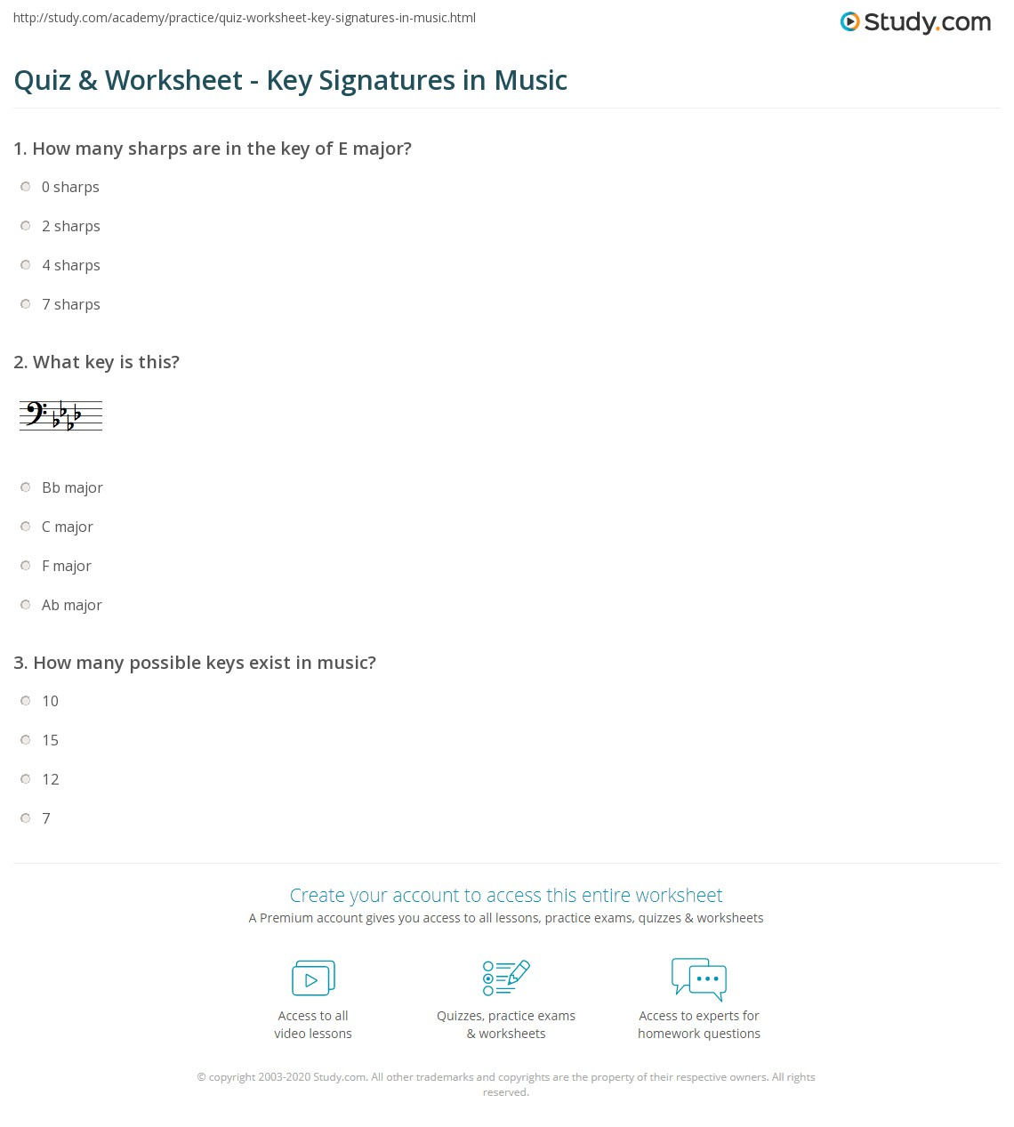 Worksheets Key Signature Worksheet quiz worksheet key signatures in music study com print signature definition concept worksheet