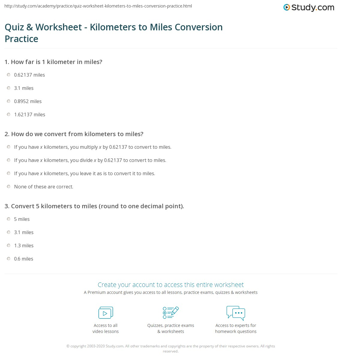 Print Converting 5 Kilometers To Miles Worksheet