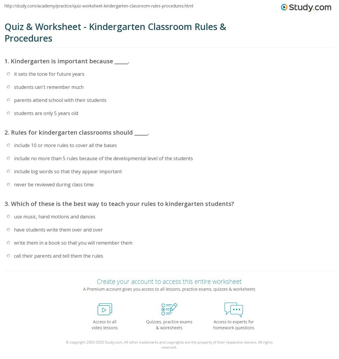 print classroom rules and procedures for kindergarten worksheet