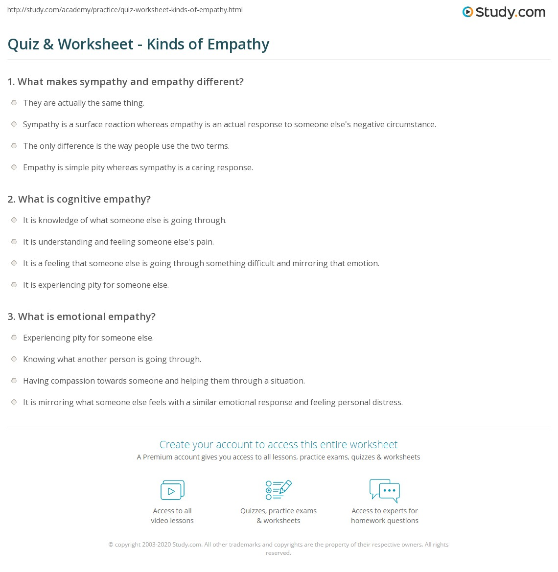 Quiz Worksheet Kinds Of Empathy Study Com