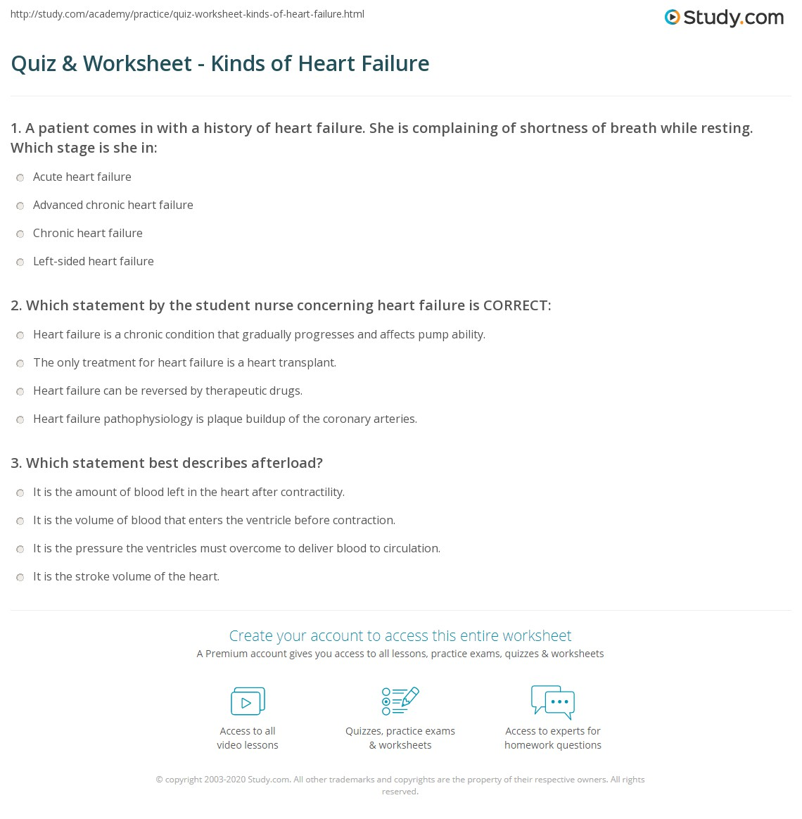 Quiz & Worksheet - Kinds of Heart Failure | Study.com