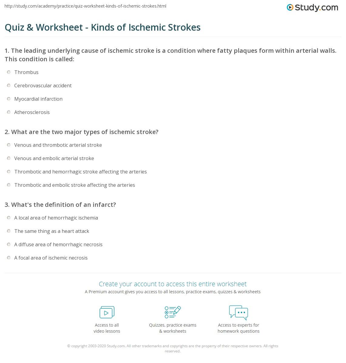 quiz & worksheet - kinds of ischemic strokes | study