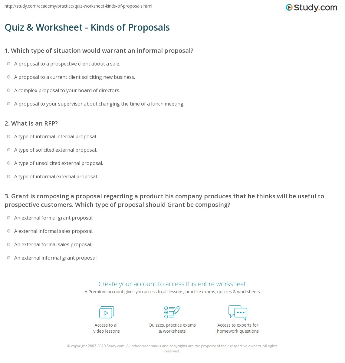 Quiz Worksheet Kinds of Proposals – Informal Proposal Format