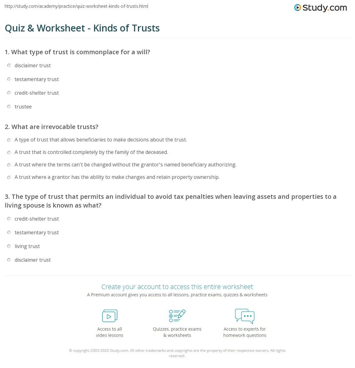 Quiz Worksheet Kinds Of Trusts Study