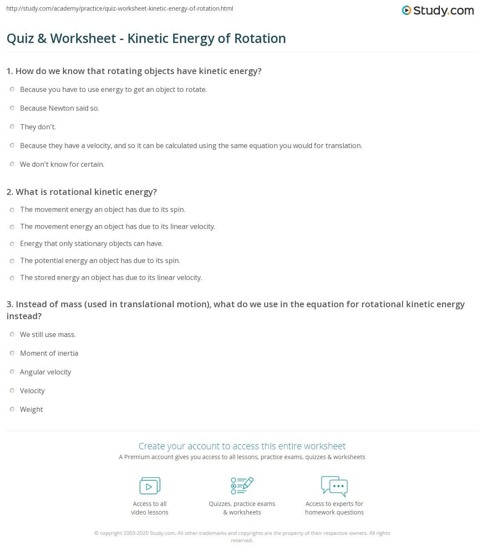 Worksheets Potential And Kinetic Energy Worksheet quiz worksheet kinetic energy of rotation study com print worksheet