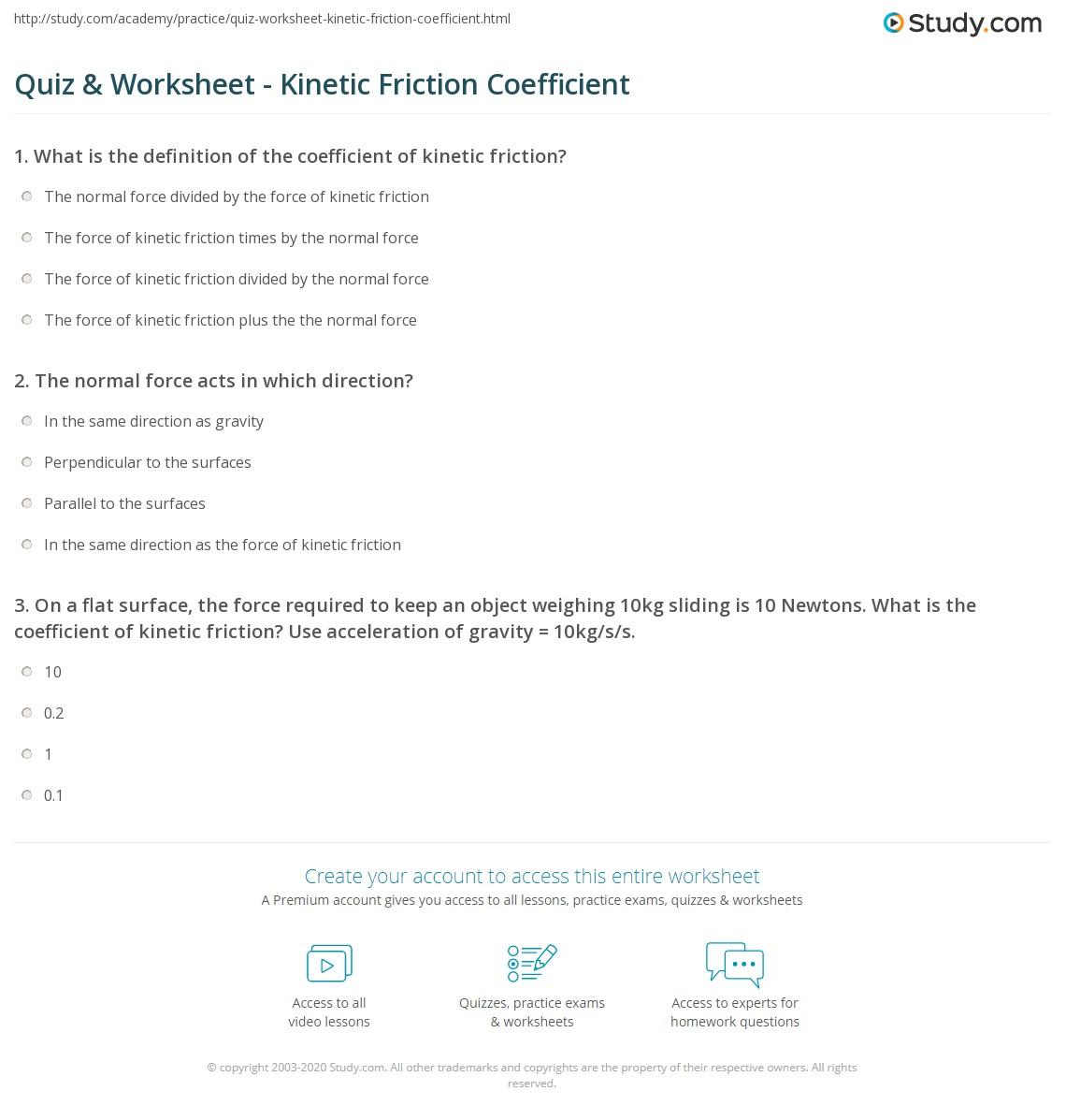 quiz worksheet kinetic friction coefficient. Black Bedroom Furniture Sets. Home Design Ideas