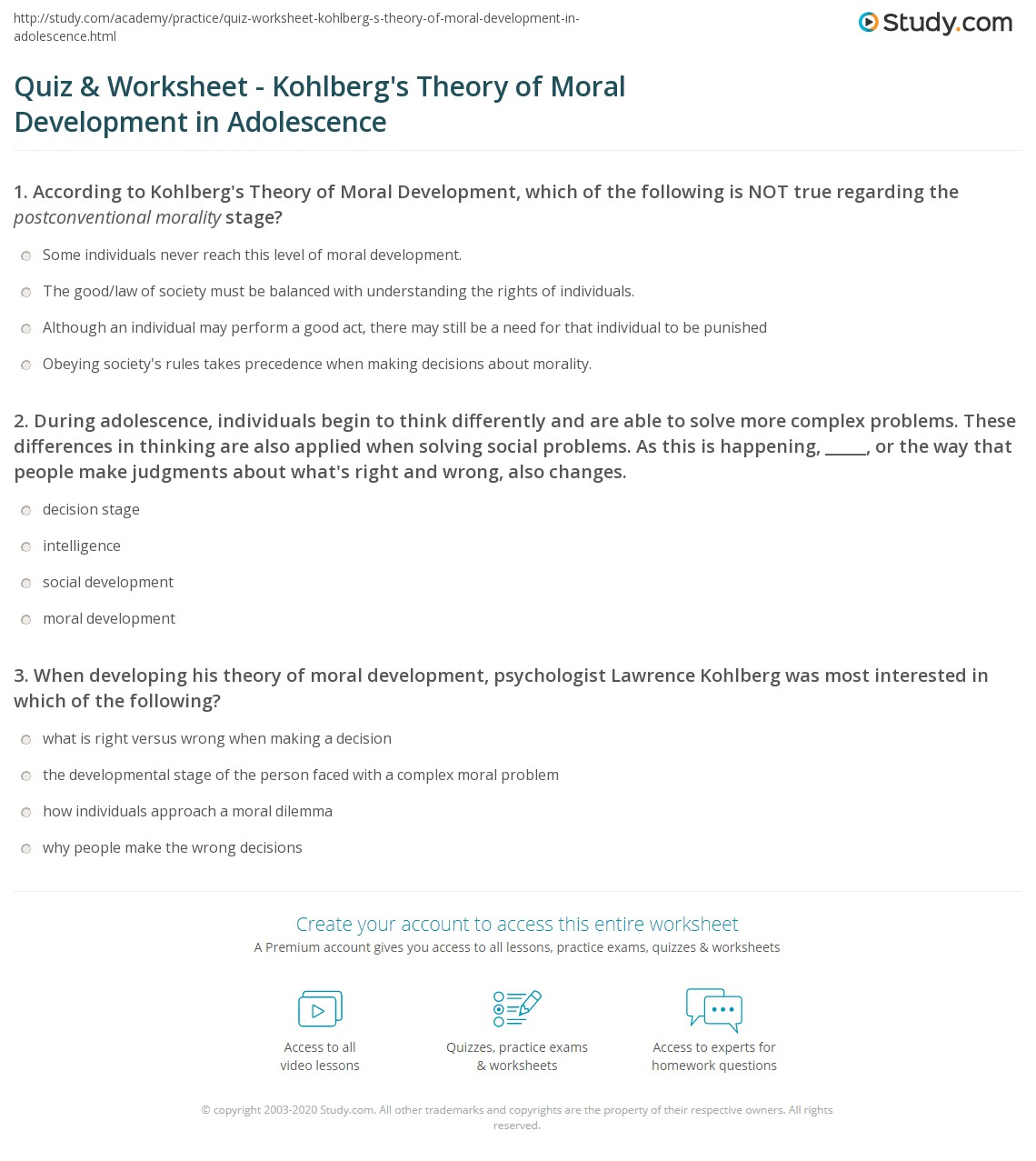 quiz worksheet kohlberg s theory of moral development in  print kohlberg s theory of moral development in adolescence worksheet