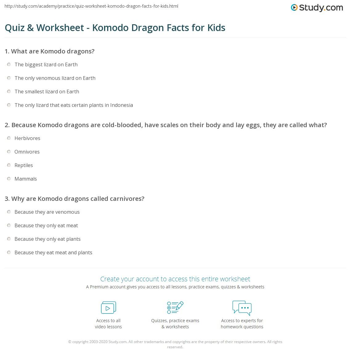 quiz worksheet komodo dragon facts for kids. Black Bedroom Furniture Sets. Home Design Ideas
