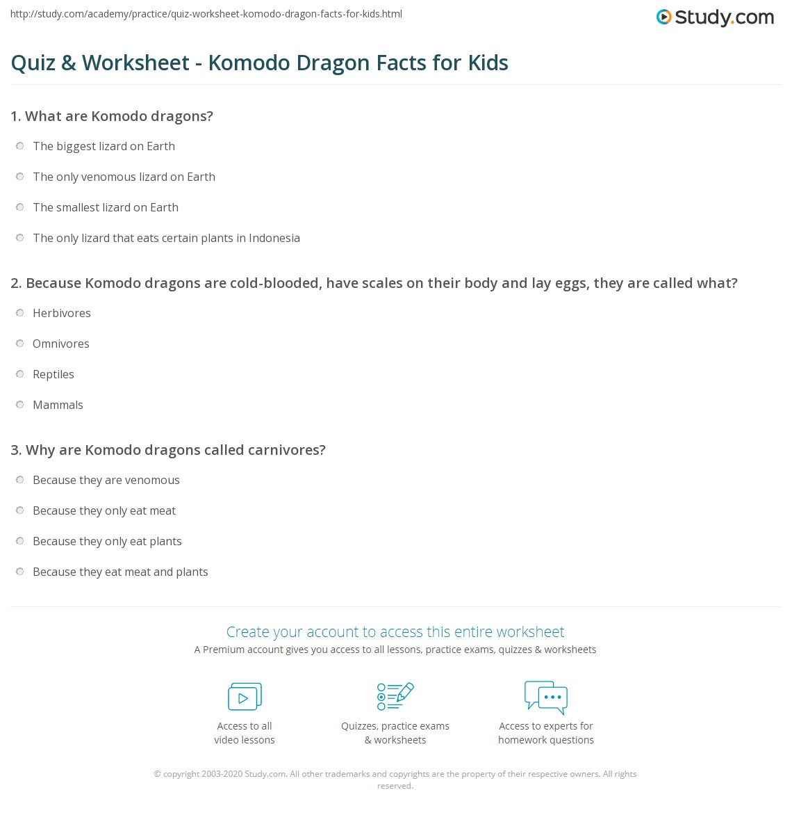 Quiz & Worksheet - Komodo Dragon Facts for Kids | Study.com