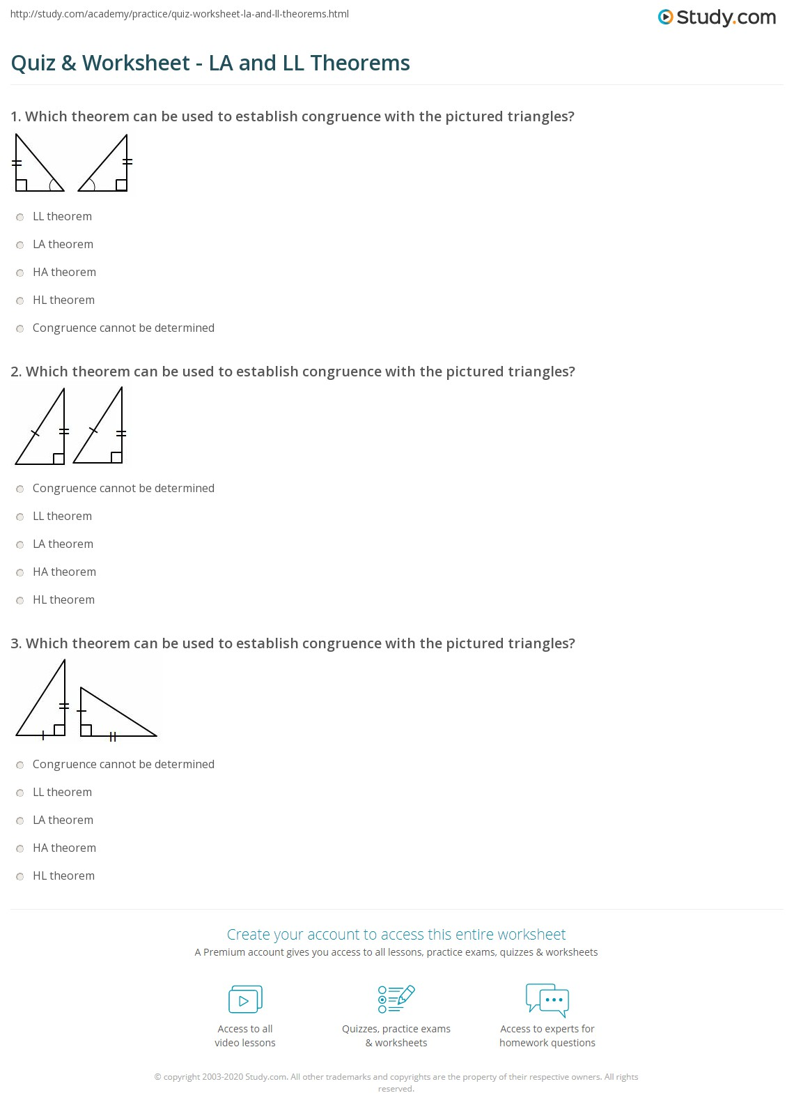 worksheet Congruent And Similar Figures Worksheet quiz worksheet la and ll theorems study com print congruency of right triangles definition worksheet