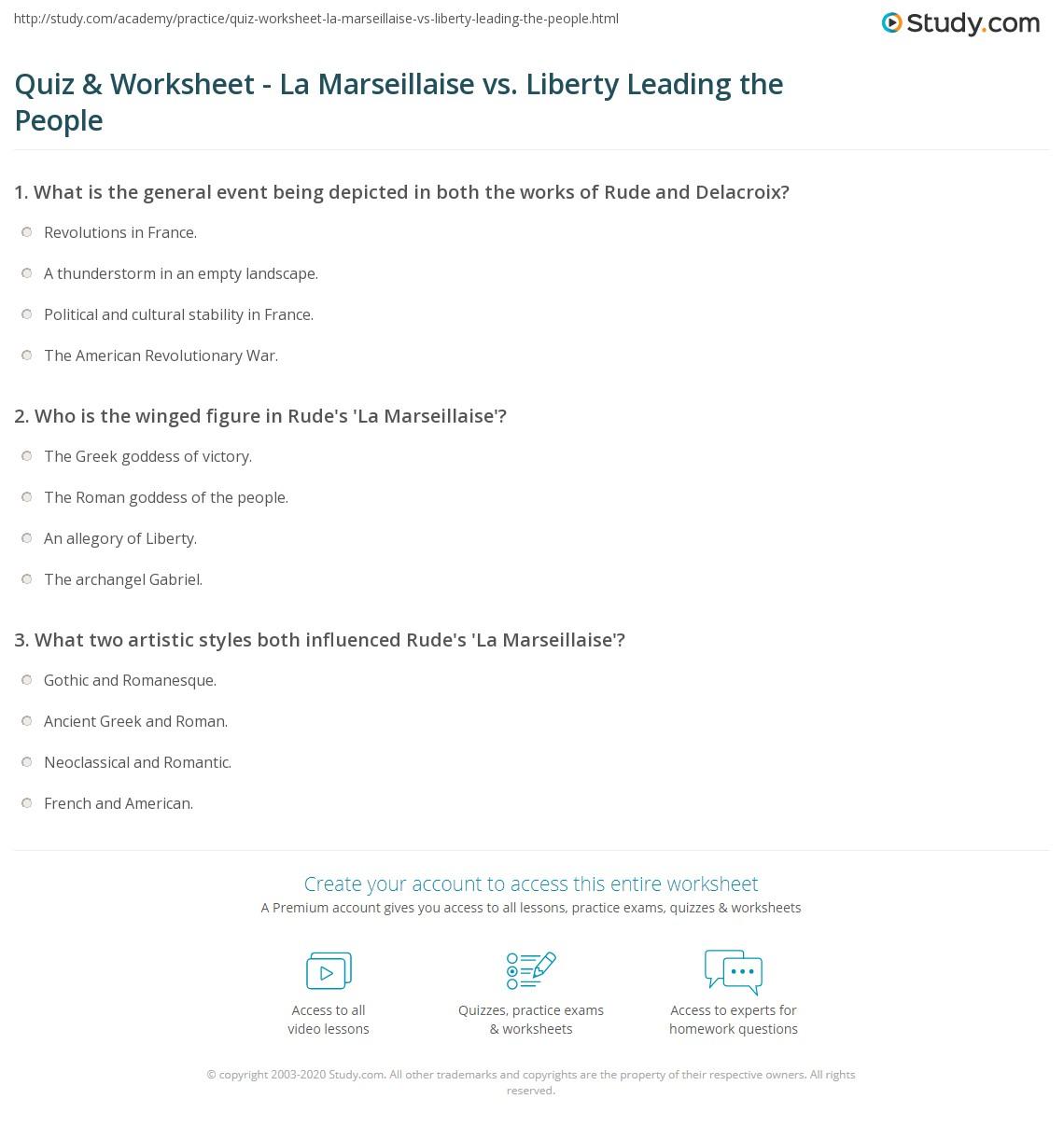 Quiz & Worksheet - La Marseillaise vs. Liberty Leading the ...