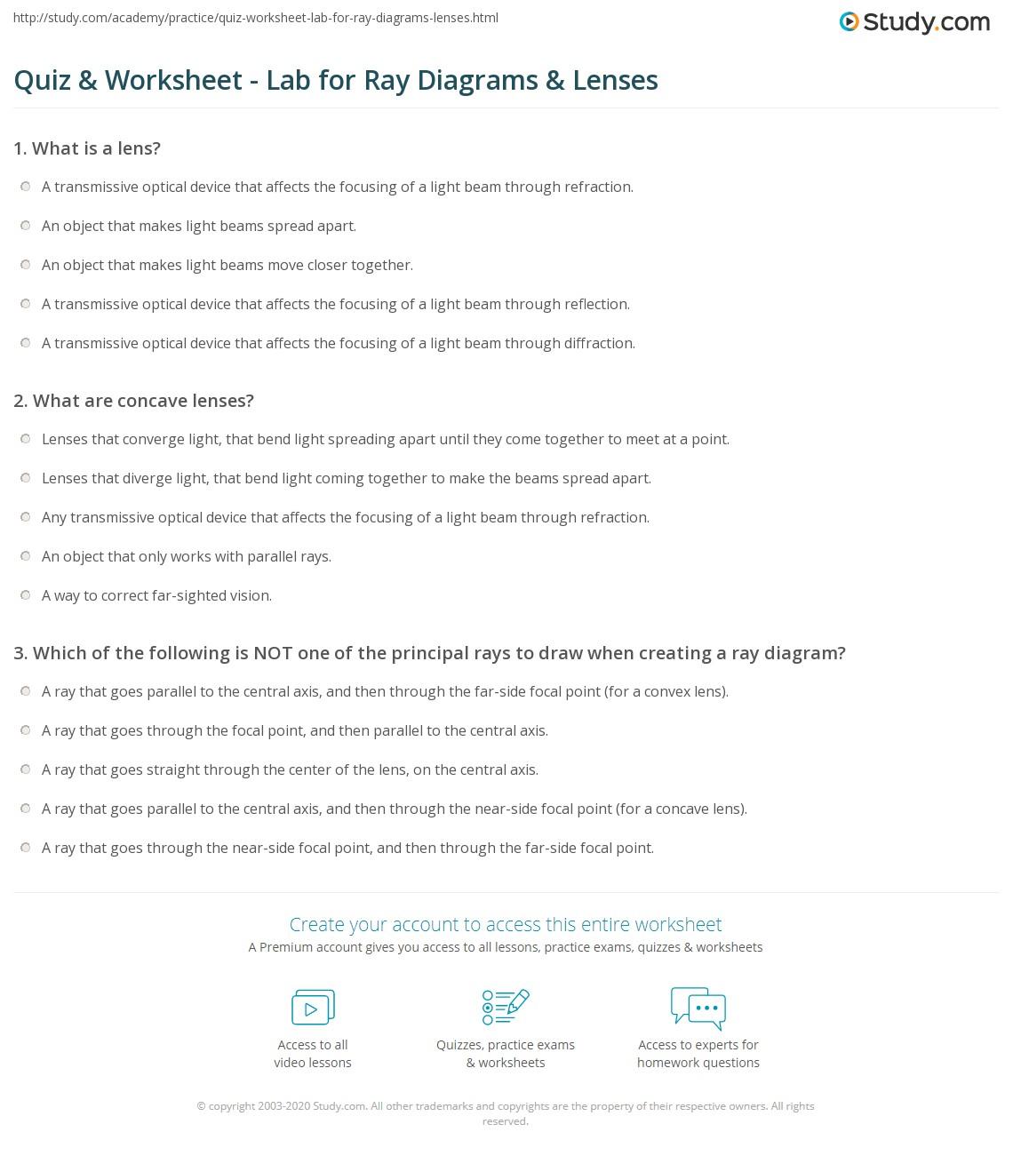 Quiz Worksheet Lab for Ray Diagrams Lenses – Ray Diagram Worksheet
