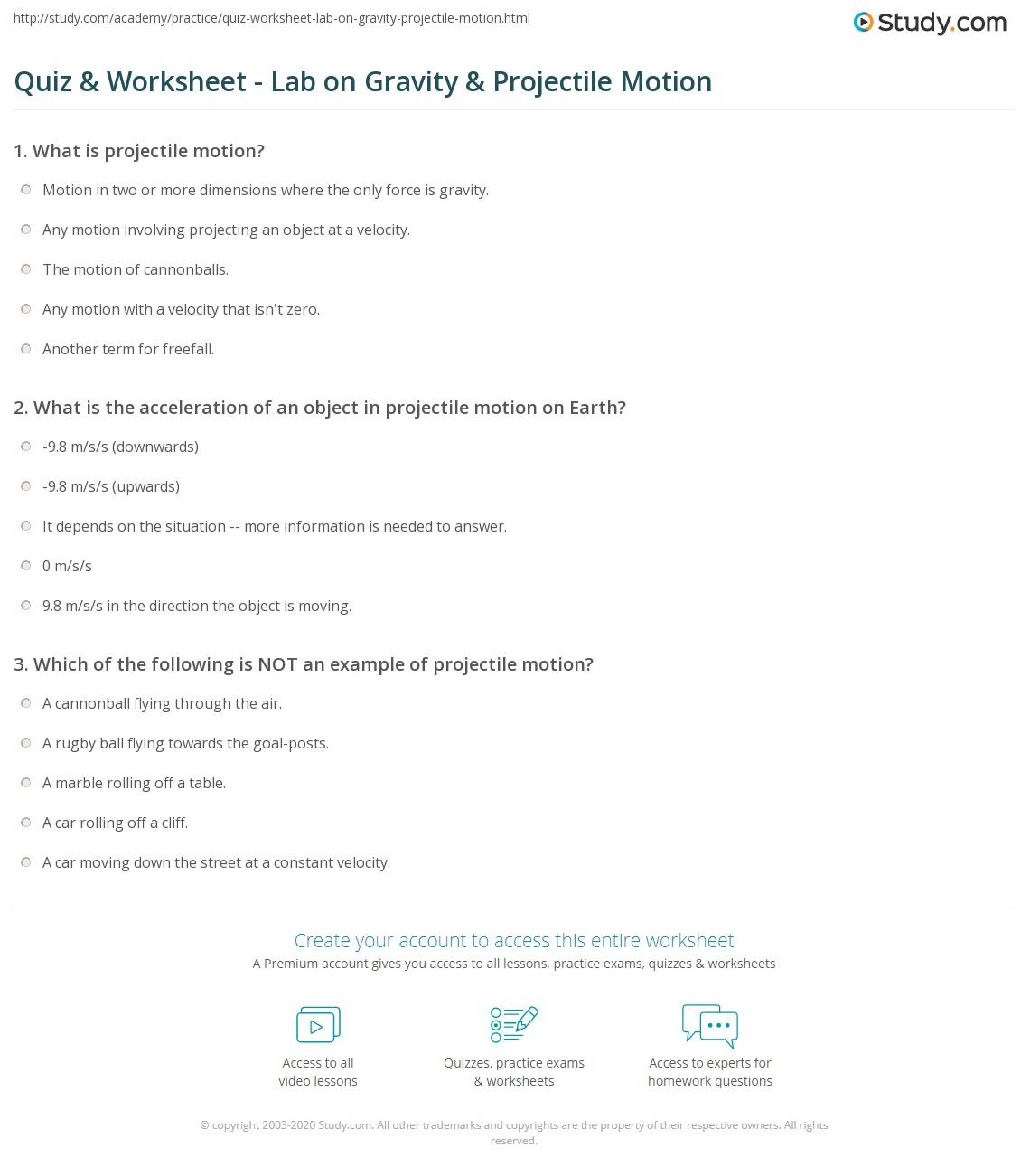 Projectile Motion Worksheet: Quiz & Worksheet   Lab on Gravity & Projectile Motion   Study com,