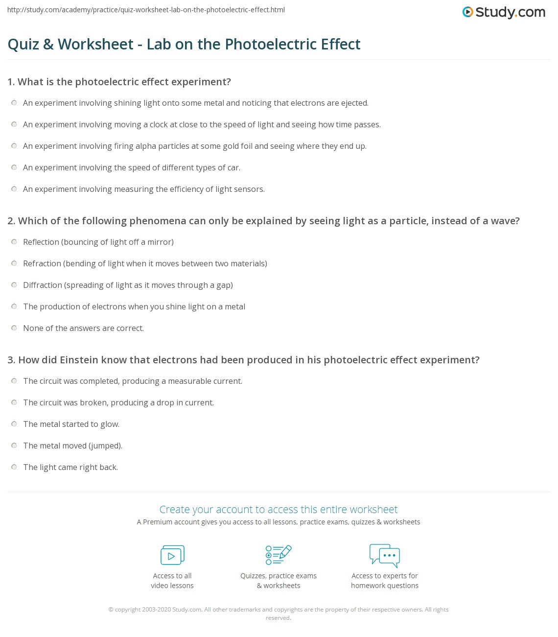 Quiz Worksheet Lab On The Photoelectric Effect Study