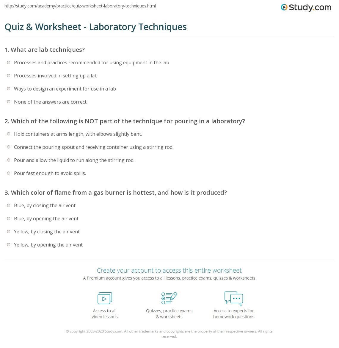 Quiz Worksheet Laboratory Techniques Study
