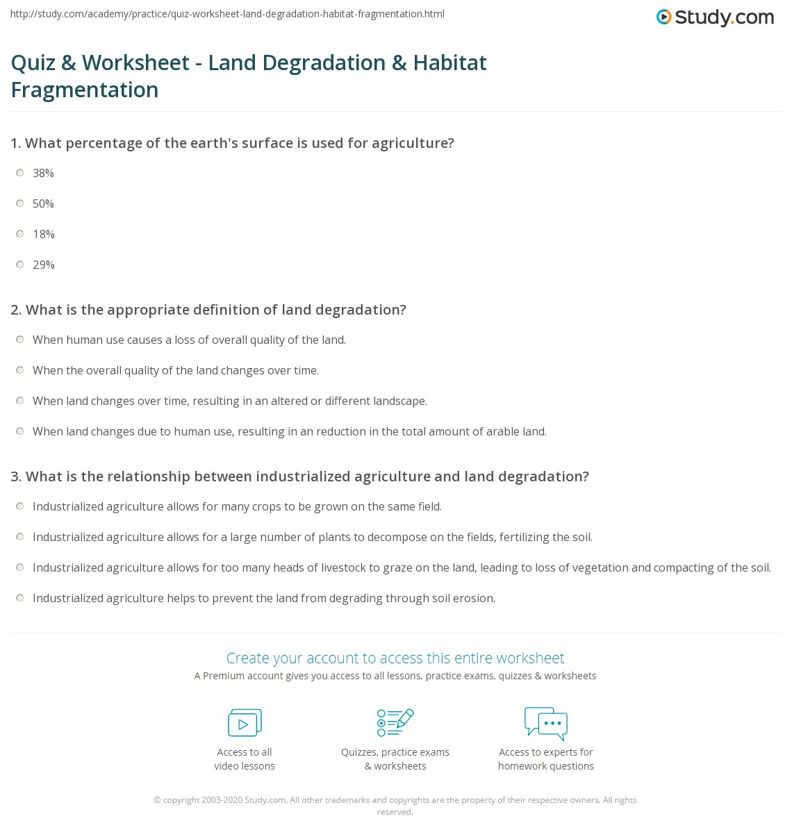 Quiz Worksheet Land Degradation Habitat Fragmentation Study