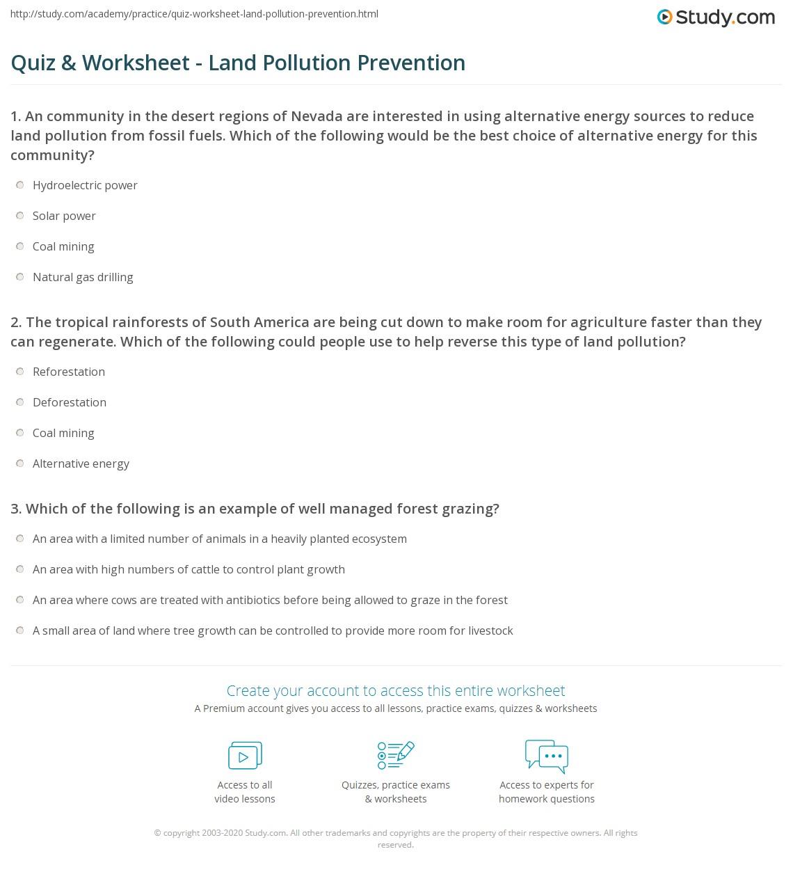 quiz worksheet land pollution prevention. Black Bedroom Furniture Sets. Home Design Ideas