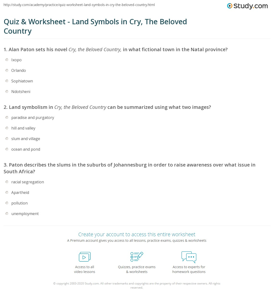 Quiz Worksheet Land Symbols In Cry The Beloved Country Study