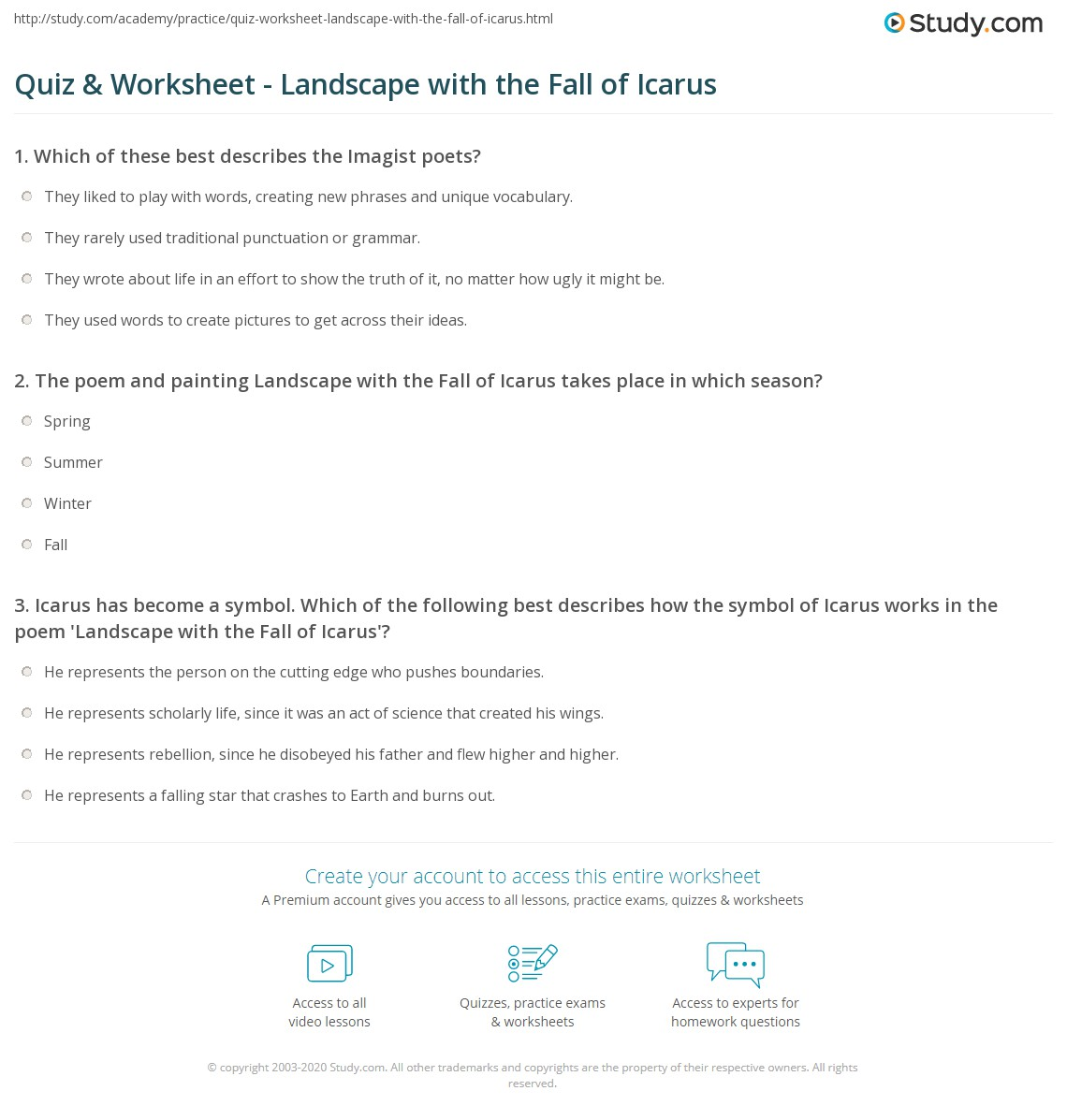 Quiz & Worksheet - Landscape with the Fall of Icarus | Study.com