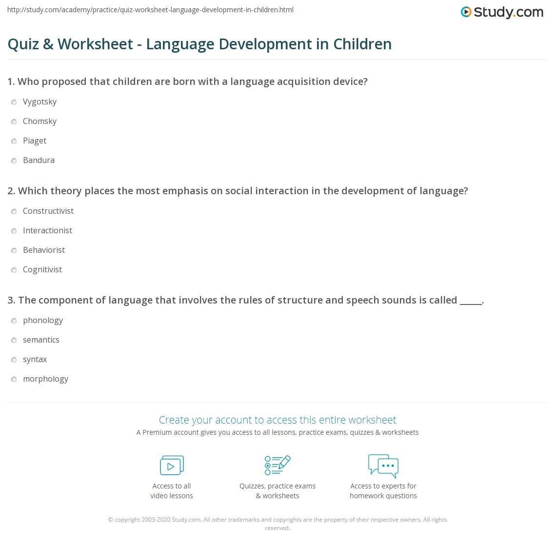 Uncategorized Child Development Worksheets quiz worksheet language development in children study com print linguistics worksheet
