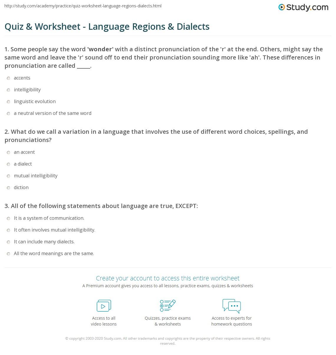 Quiz & Worksheet - Language Regions & Dialects | Study com