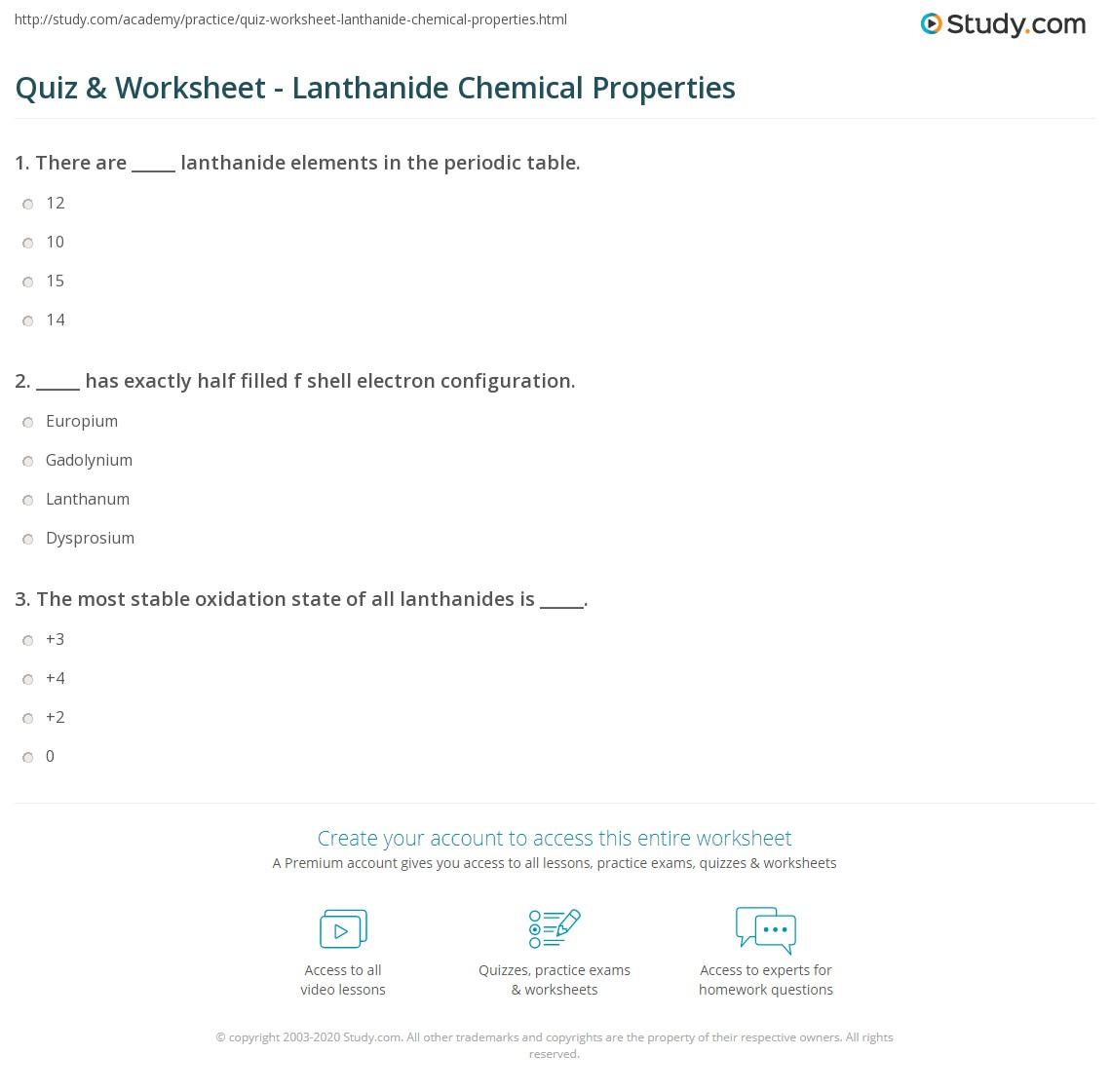 Quiz Worksheet Lanthanide Chemical Properties Study Com