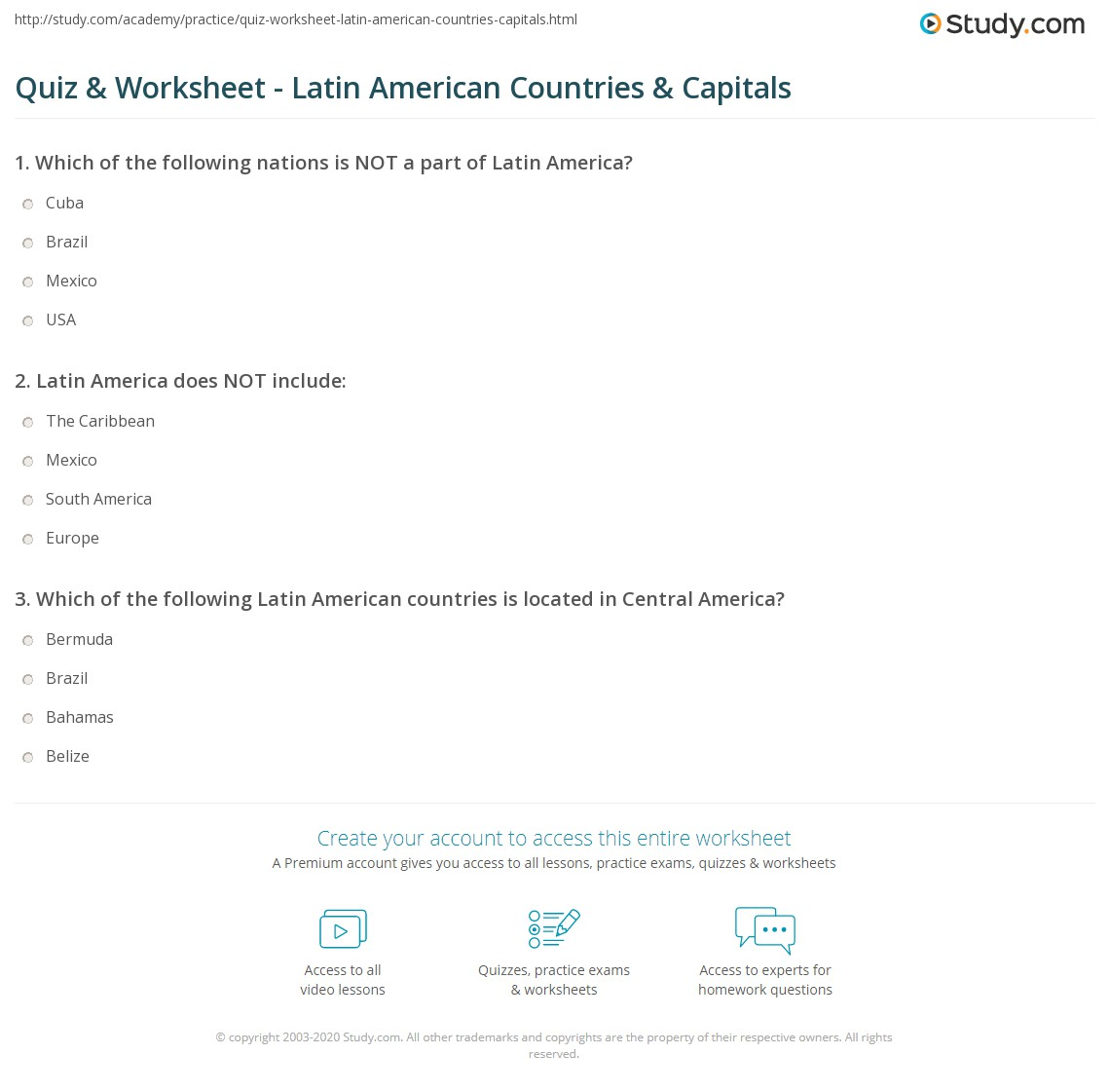 Quiz  Worksheet Latin American Countries  Capitals Studycom - States and capitals of the usa quiz