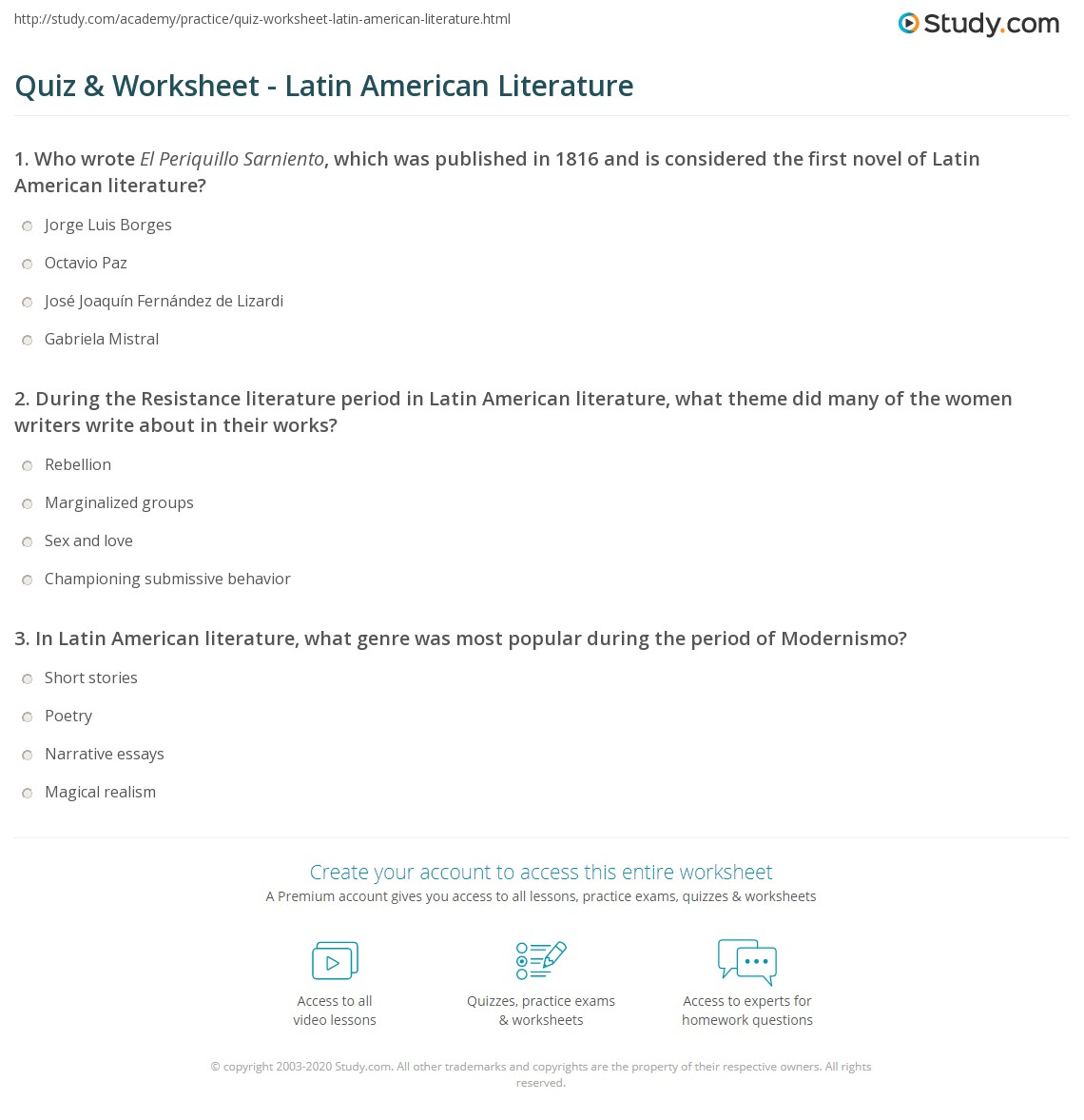 Worksheets American Literature Worksheets quiz worksheet latin american literature study com print history authors genres worksheet