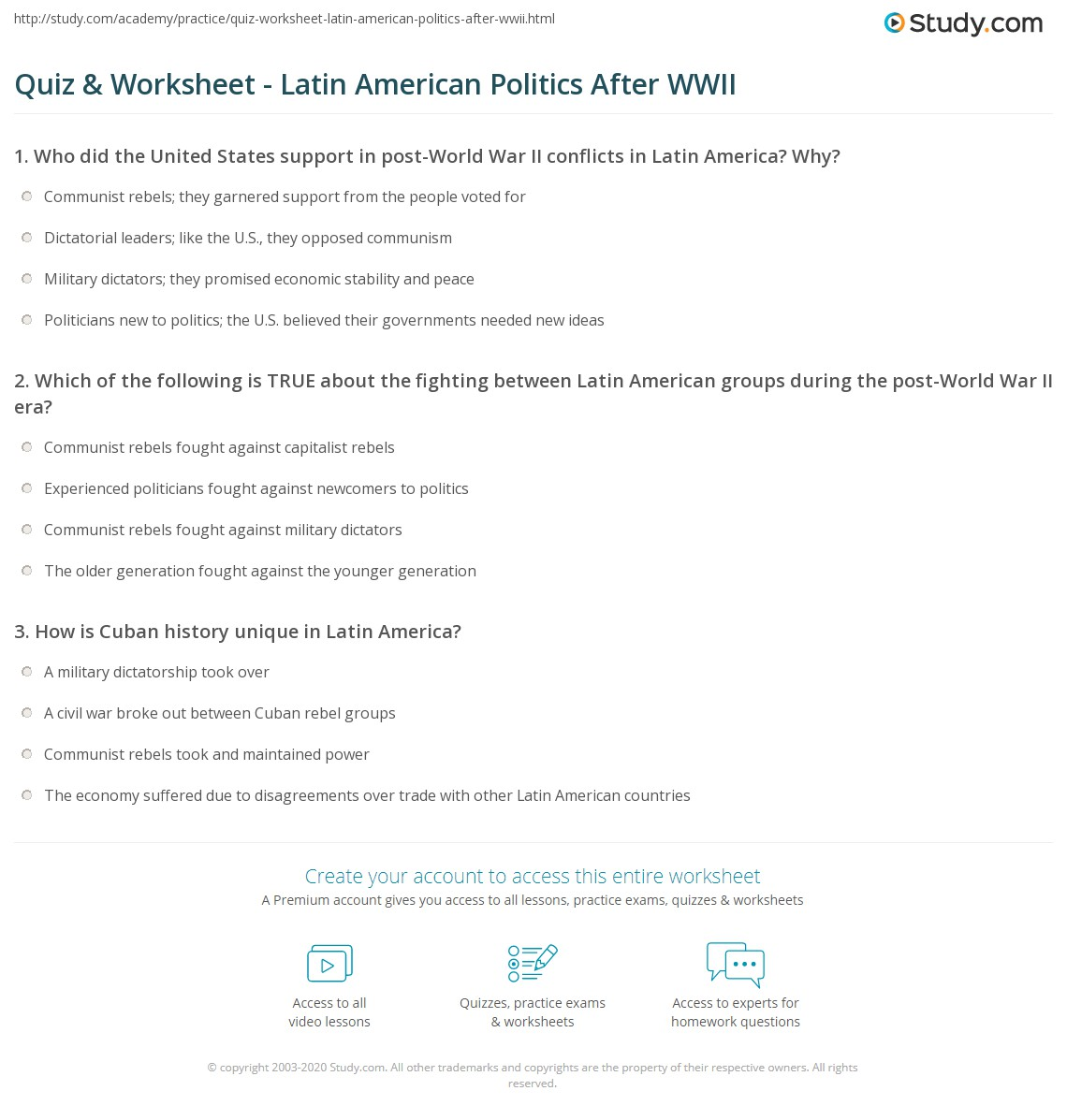 worksheet America The Story Of Us Rebels Worksheet Answers quiz worksheet latin american politics after wwii study com print post war worksheet