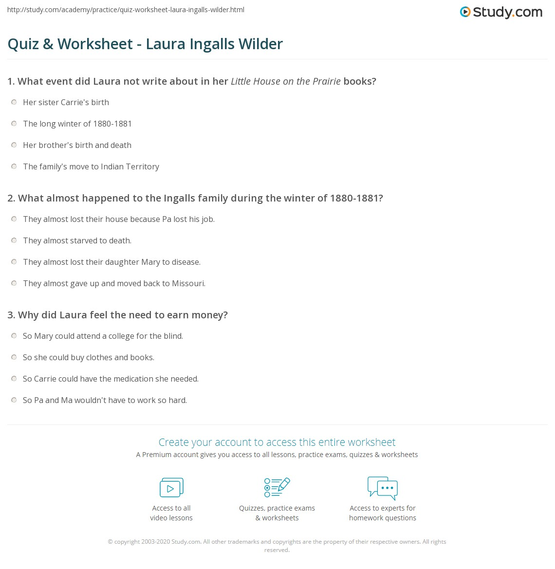 quiz worksheet laura ingalls wilder. Black Bedroom Furniture Sets. Home Design Ideas