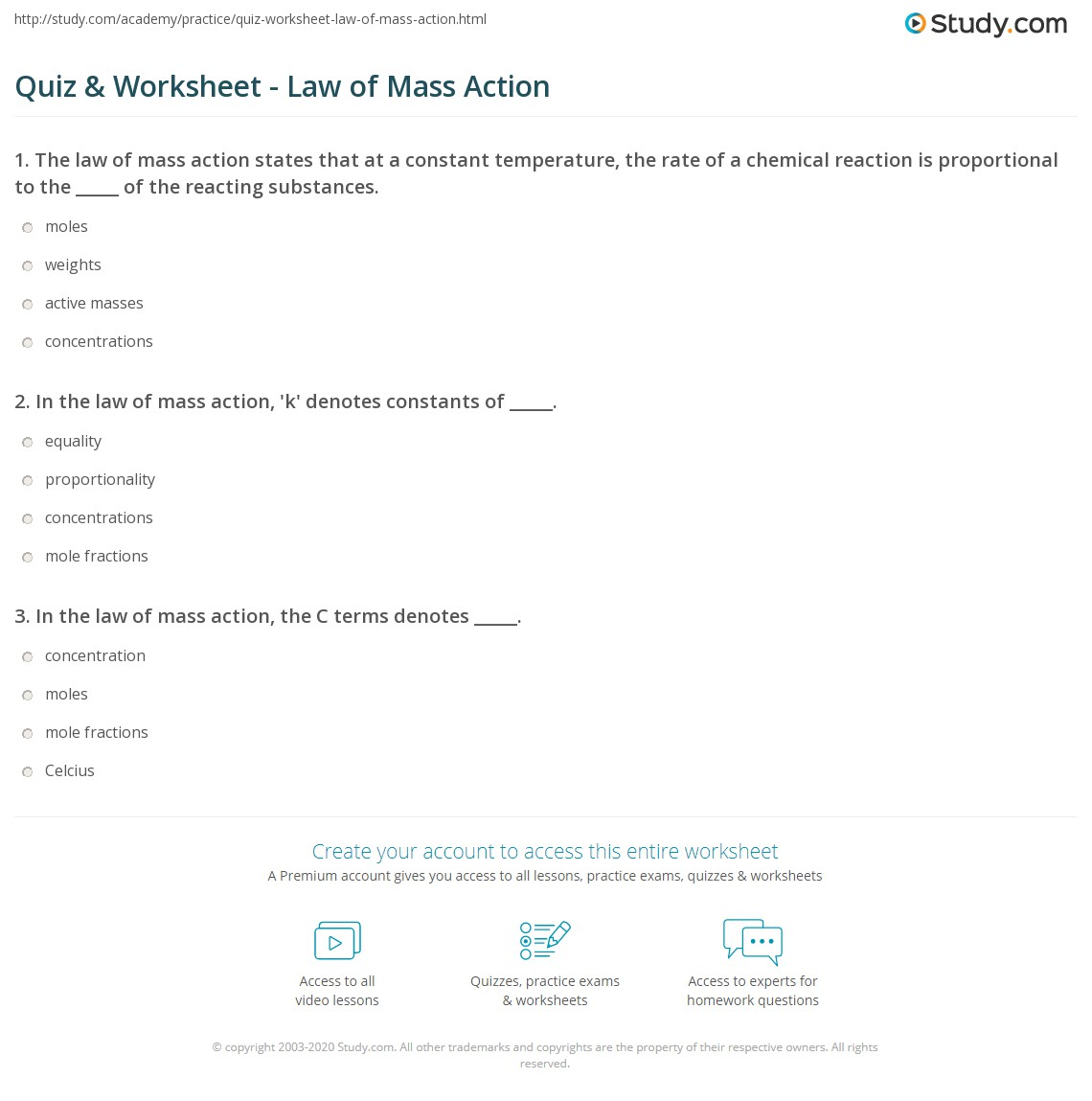 Quiz Worksheet Law Of Mass Action Study