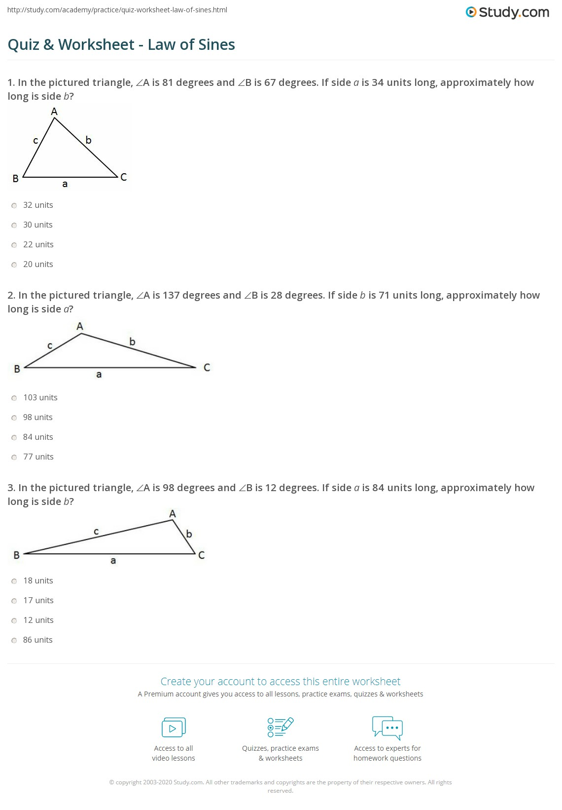Quiz Worksheet Law of Sines – Law of Sine and Cosine Worksheet