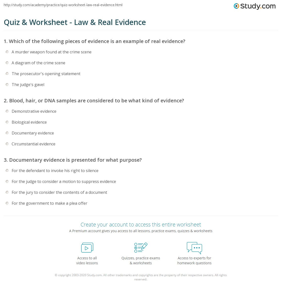 Quiz Worksheet Law Real Evidence Study