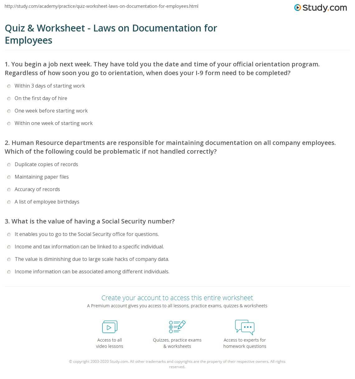 Quiz Worksheet Laws On Documentation For Employees Study