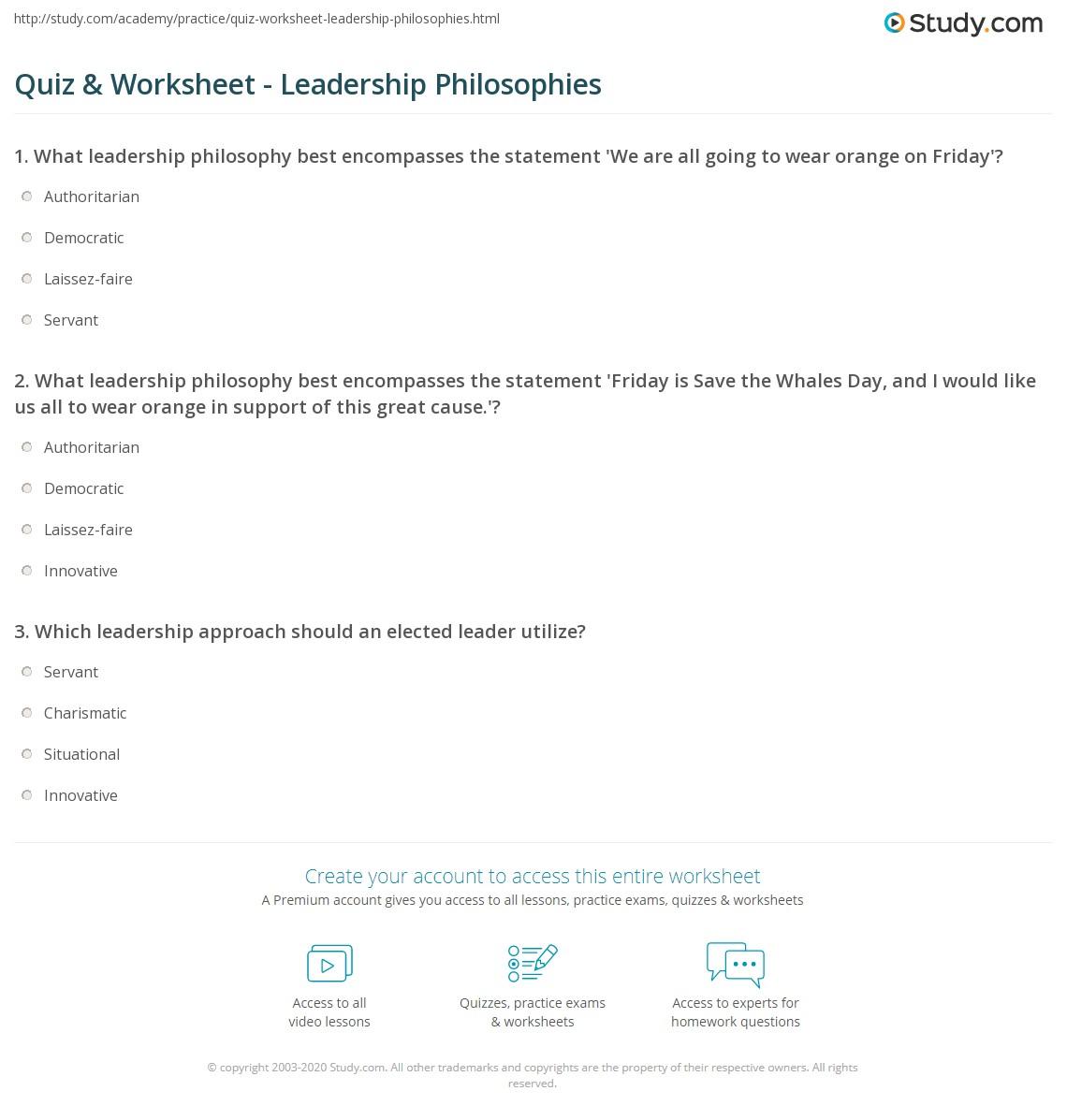 Quiz Worksheet Leadership Philosophies Study